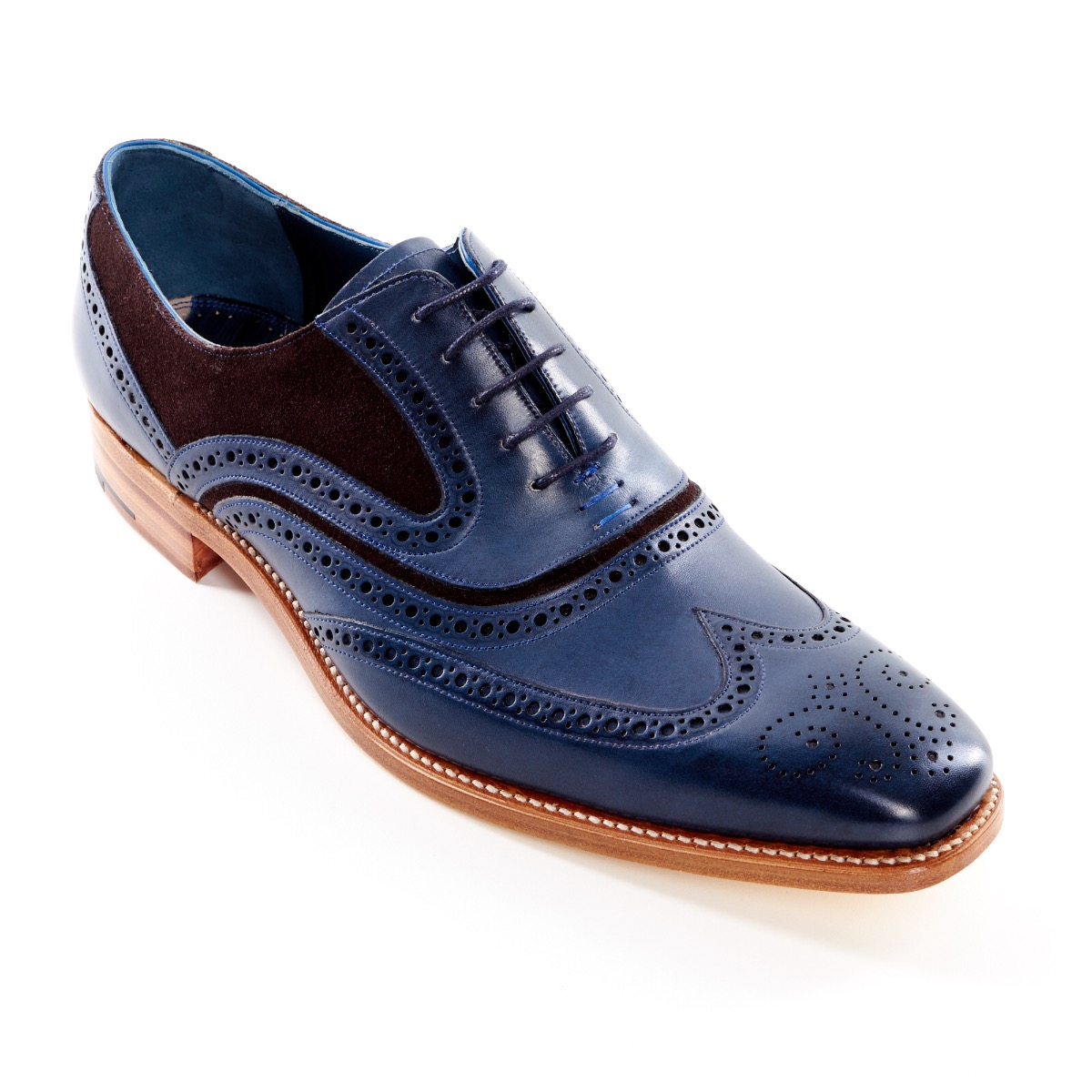 083716ffabe63 Dress Brogue McClean Hand Painted Navy and Brown Suede by Barker