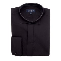 Evening Shirt Large Wing Collar Double Cuff Black Monaco Style