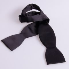 Self Tie Bow Tie in Black Polyester Fabric and Adjustable