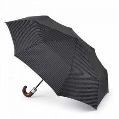 Chelsea Two Stripe Black Umbrella By Fulton