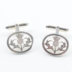 Sterling Silver Thistle Designed Cufflinks