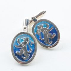 Blue Enamel, Lion Rampant Cufflinks by Ortak