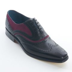 Dress Brogue Wingtip McClean Black Calf and Purple Suede by Barker