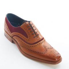 Dress Brogue Wingtip McClean Cedar Calf and Burgundy Suede by Barker