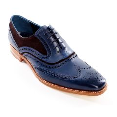 Dress Brogue McClean Hand Painted Navy and Brown Suede by Barker