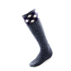 Diamond top Sock in Hebridean Thistle Colours by House of Cheviot