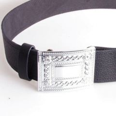 Velcro Belt and Buckle Set Plain Celtic Design Chrome Buckle