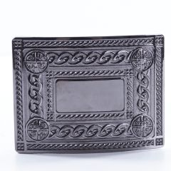 Black Chrome 4 Dome Kilt Belt Buckle