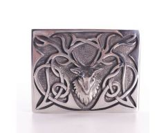 Chrome Pewter Stag Belt Buckle