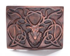 Copper, Pewter Stag Belt Buckle