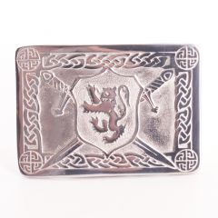 Lion Crested Pewter Belt Buckle