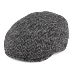 Grey Herringbone, Stornoway Harris Tweed Flat Cap