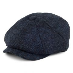 Navy, Carloway Harris Tweed Newsboy Cap
