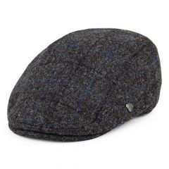 Grey And Blue Windowpane, Harris Tweed Stornoway Flat Cap