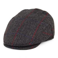 Grey Windowpane, Waterproof Flat Cap