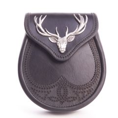 Black Leather Sporran with Stag Design