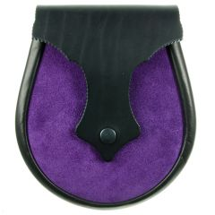 Sporran Plain Black Leather Moo, Purple Suede