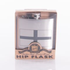 Stainless Steel Flask with St George Design, Captive Top, 6oz
