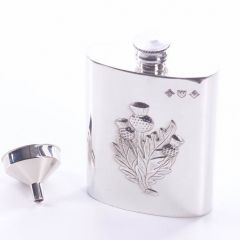 Three Thistles 4oz Pewter Hip Flask