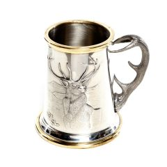 Stag Tankard with Brass Detailing, 1 Pint