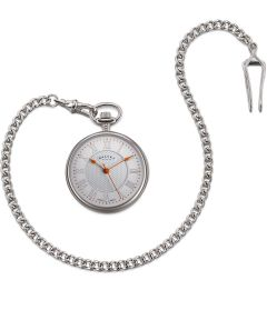 White and Orange Open Face Pocket Watch by Dalvey