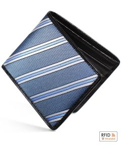 Blue Slim Billfold Wallet With Black Caviar Leather by Dalvey