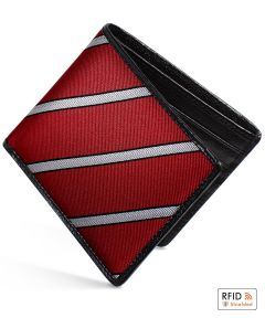 Burgundy Slim Billfold Wallet With Black Caviar Leather by Dalvey