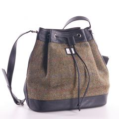 Country Green Harris Tweed Bucket Bag