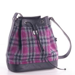 Pink Check Harris Tweed Bucket Bag