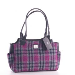 Ladies Pink Check Harris Tweed Day Bag