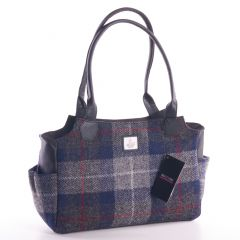 Ladies Blue Check Harris Tweed Day Bag