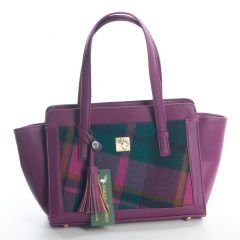Tweed Purple Check Tassel Bag