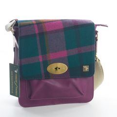 Purple Check Messenger Bag