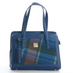 Tweed Multi Check Tassel Bag