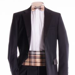 Tartan Cummerbund and Bow Tie in Camel Stewart Silk Material