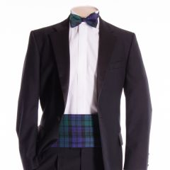 Traditional Tartan Cummerbund and Bow Tie in Black Watch Tartan