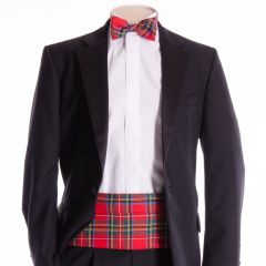 Traditional Tartan Cummerbund and Bow Tie in Modern Royal Stewart