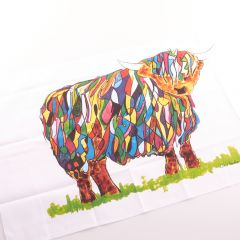 Vibrant Highland Cow Tea Towel