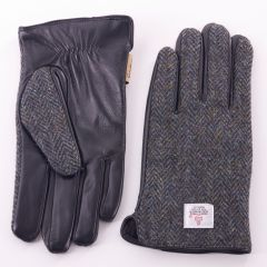 Mens Harris Tweed Charcoal Herringbone Gloves by Snow Paw