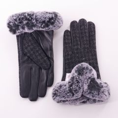 Ladies Black Dogtooth Checked Harris Tweed Gloves by Snow Paw