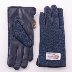 Mens Harris Tweed Navy Herringbone Gloves by Snow Paw