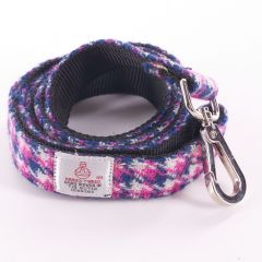 Pink Check Dog Lead in Stunning Harris Tweed Fabric