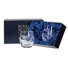 Pair of Flower of Scotland Barrel Whisky Tumbler by Royal Scot Crystal
