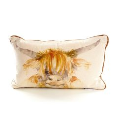 Highland Cow Cushion with Check Backing