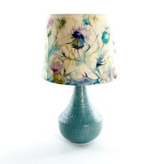 Teal Agri Table Lamp with Damson Bristle Shade by Voyage Maison