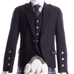 Crail Kilt Jacket and Vest Medium Weight Black