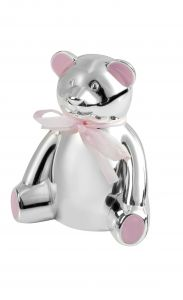 Engravable Teddy Bear Money Box in Pink