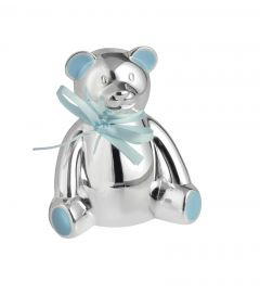 Engravable Teddy Bear Money Box in Blue