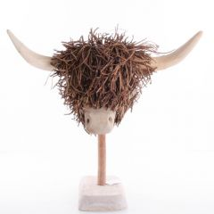 Poorly Highland Cow, Wooden Sculpture by Voyage Maison