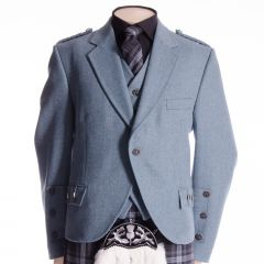 Crail Jacket and Vest in Blue Herringbone Fabric